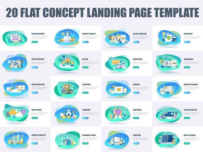 Conjunto de plantillas de página de aterrizaje de diseño de línea plana
