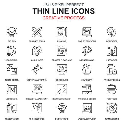 Conjunto de iconos de flujo de trabajo de proyecto y proceso creativo de línea delgada