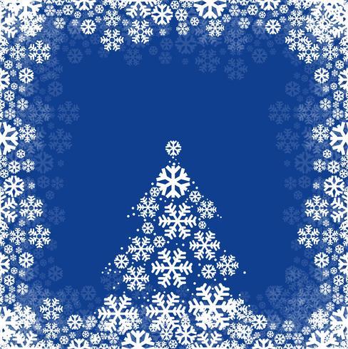 Schneeflocke und Baum backgr der abstrakten Karte des Festivals frohe Weihnachten