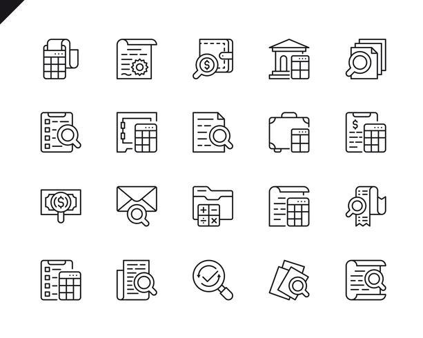 Conjunto simple de iconos de línea vectorial relacionados con la contabilidad