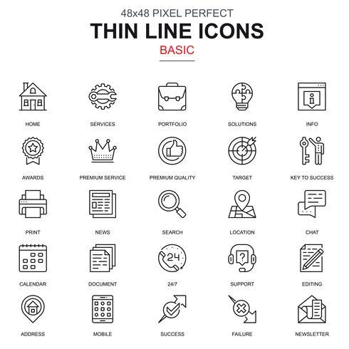 Dünne Linie grundlegende Symbole festgelegt
