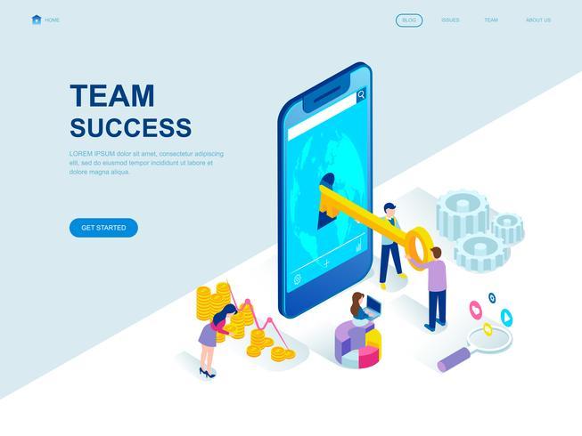 Conceito isométrico moderno design plano de sucesso da equipe