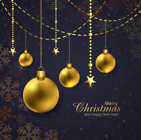 God jul glänsande gyllene bollar mörk bakgrund vektor