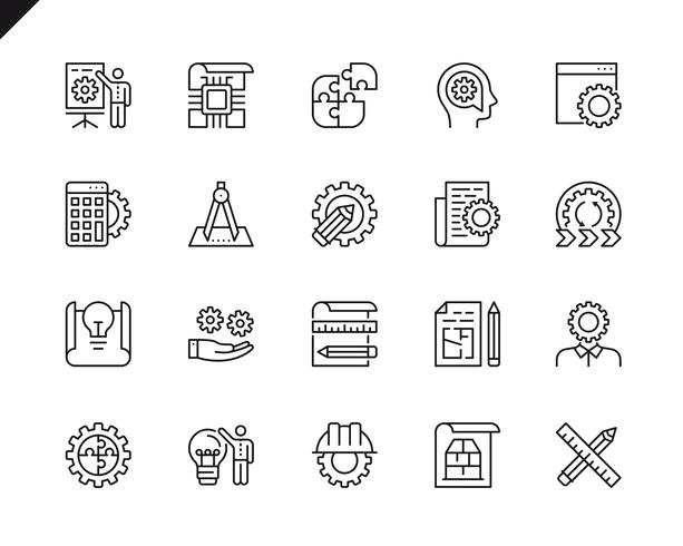 Simple Set of Engineering Design Related Vector Line Icons