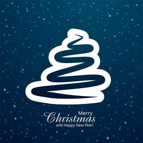 Blauer Baumdesignvektor der Karte der frohen Weihnachten