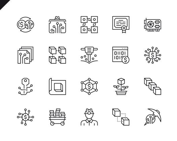 Conjunto simples de ícones de linha do vetor criptomoeda relacionados