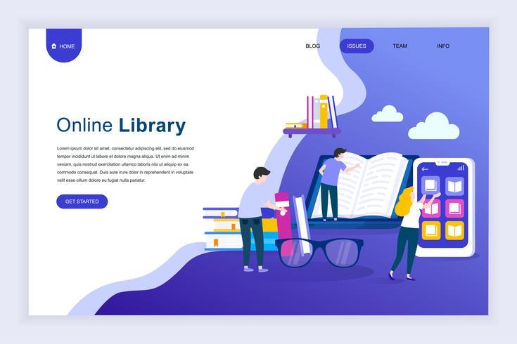 Concept de design plat moderne de la bibliothèque en ligne