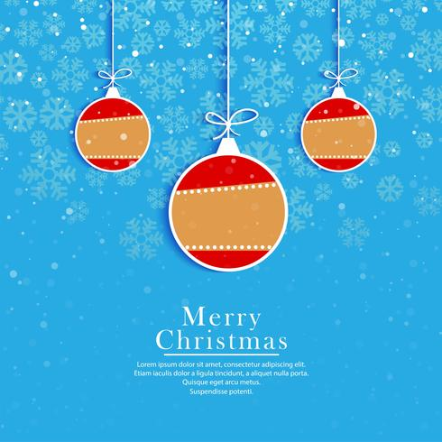 Glad julbollar blå kortdesign vektor