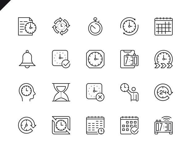 Sencillo conjunto de iconos de línea vectorial relacionados con el tiempo