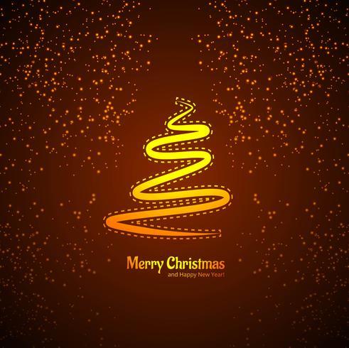 Kartenbaum der frohen Weihnachten mit Funkelnhintergrundvektor