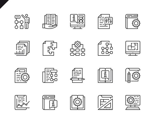 Simple Set of Technical Documentation Related Vector Line Icons