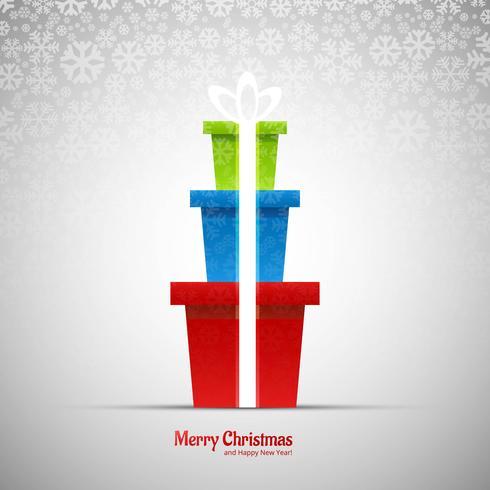 Mooie vrolijke Kerstkaart met sneeuwvlok van de giftdoos backgroun