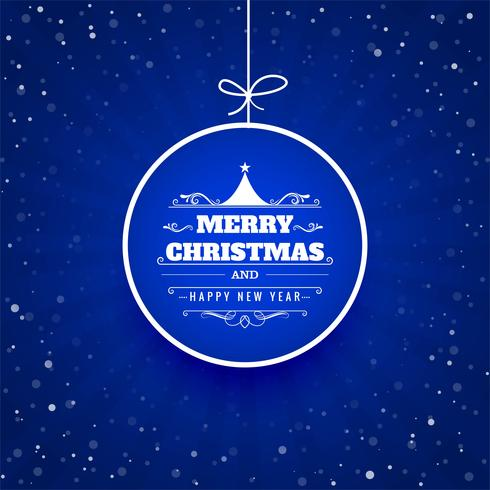 Tarjeta de feliz Navidad con ilustración de fondo de bola