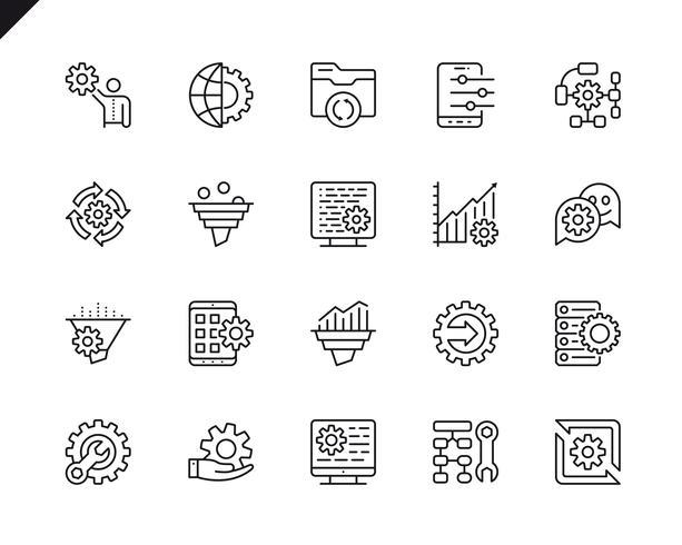 Semplice set di icone di linea di vettore relative elaborazione dei dati