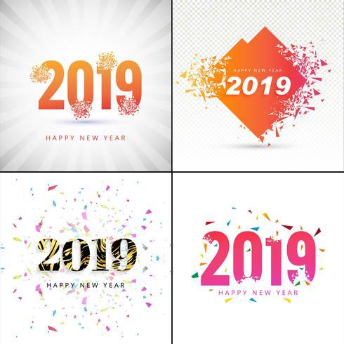 Modernes guten Rutsch ins Neue Jahr-Hintergrund-Sammlungsdesign 2019