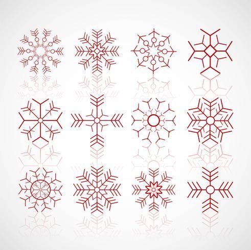 Diverse wintersneeuwvlokken geplaatst ontwerpvector vector