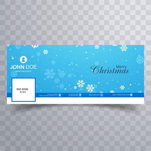 Elegante decorativa feliz navidad facebook banner plantilla vect