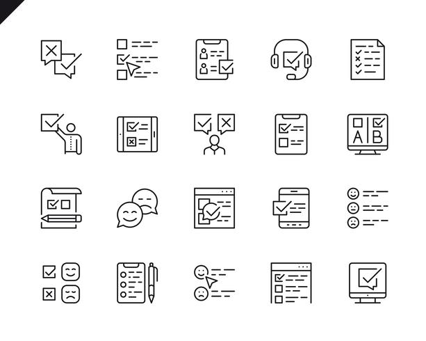 Simple Set of Survey Related Vector Line Icons