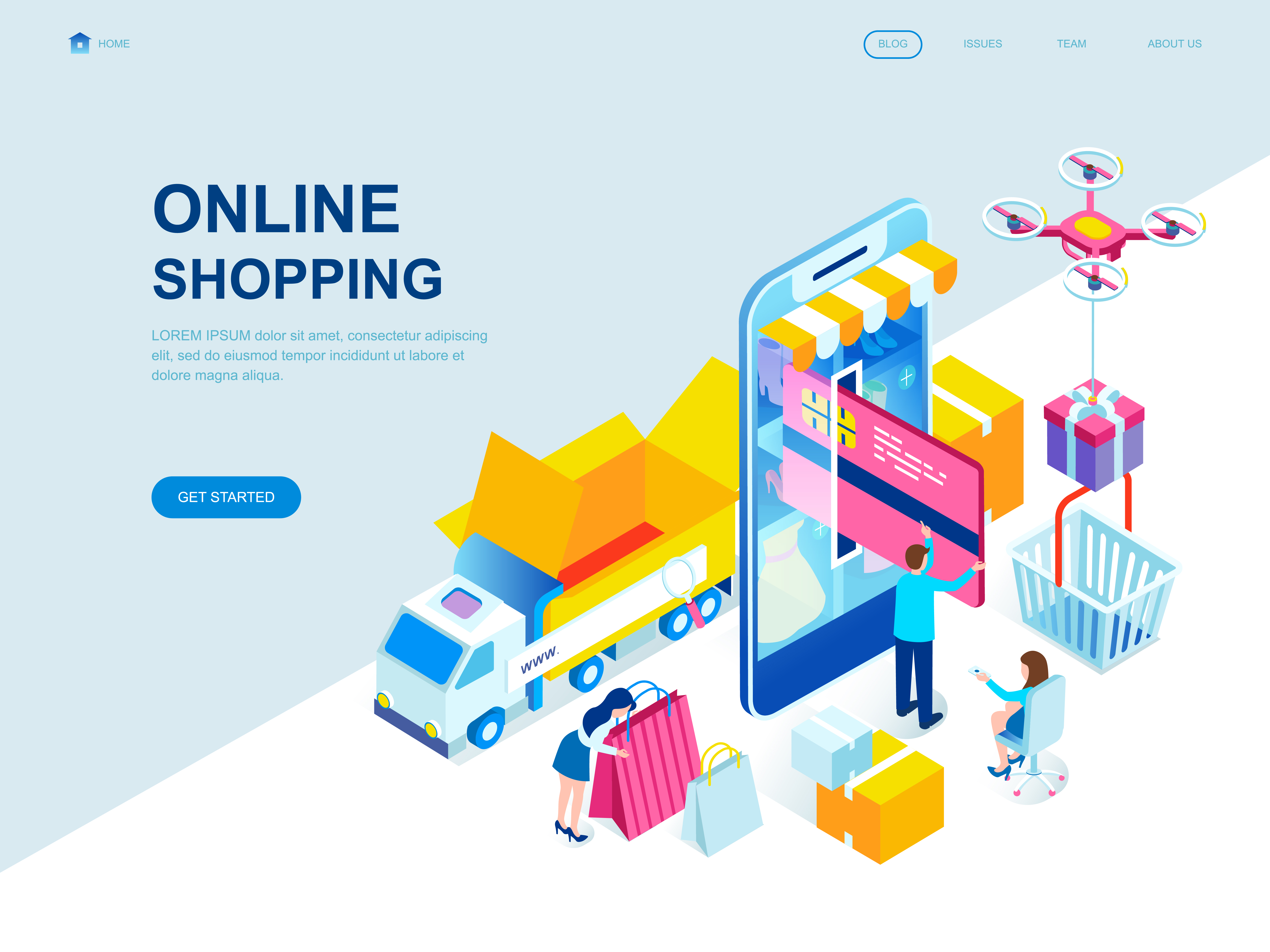 Modern flat design isometric concept of online shopping for Design store online