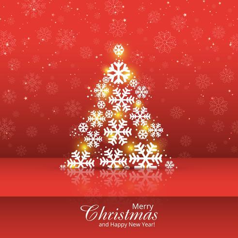 Snowflake tree merry christmas card design ilustração