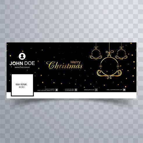 Elegant decorative merry christmas ball facebook banner template