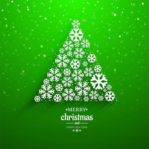 Beautiful Snowflake Tree Card Merry Christmas Background Download