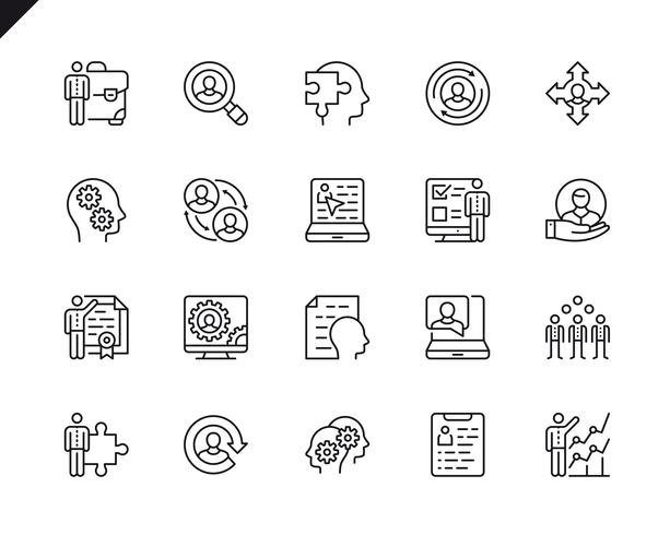 Ensemble simple d'icônes de ligne Vector Management connexes