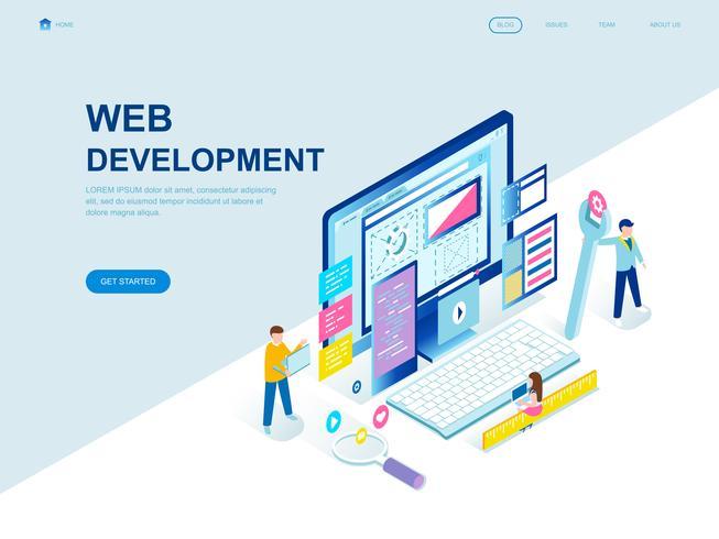 Concept isométrique de design plat moderne de développement Web