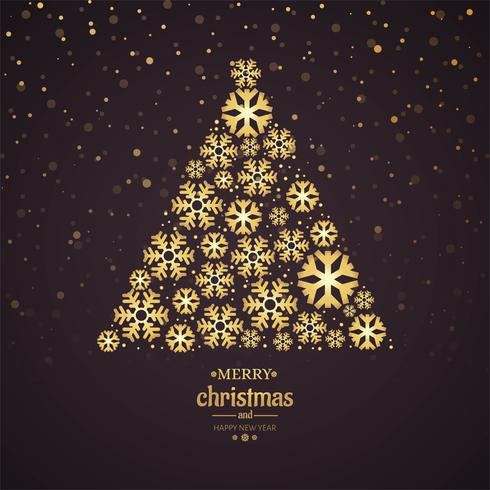 Beautiful Merry Christmas Card With Snowflake Tree