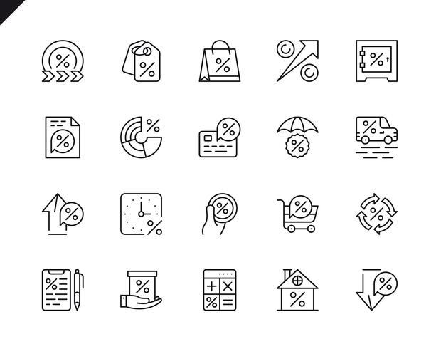 Conjunto simples de dinheiro de empréstimo relacionados com vetor linha de ícones