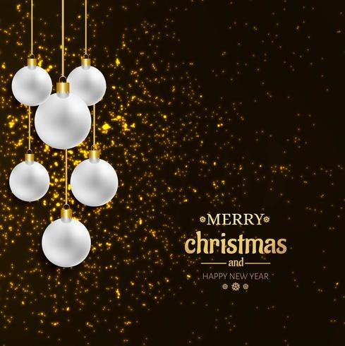 Dekorativer Ball der Karte der frohen Weihnachten mit Funkelnhintergrund