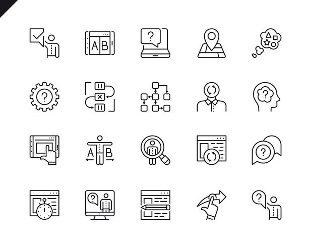 Ensemble simple d'icônes de lignes vectorielles UX connexes Pack de pictogrammes linéaires