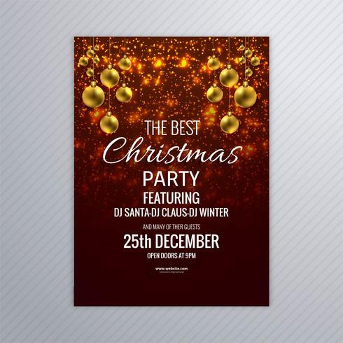 Brochura de cartão de feliz Natal com fundo de brilhos