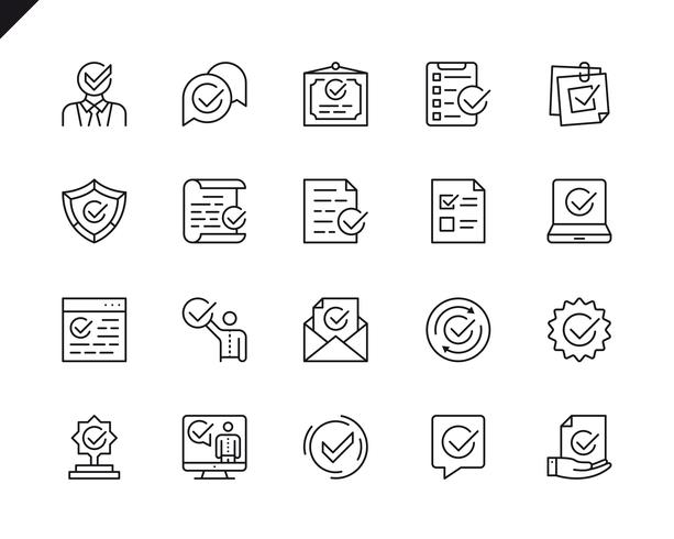 Simple Set of Approve Related Vector Line Icons
