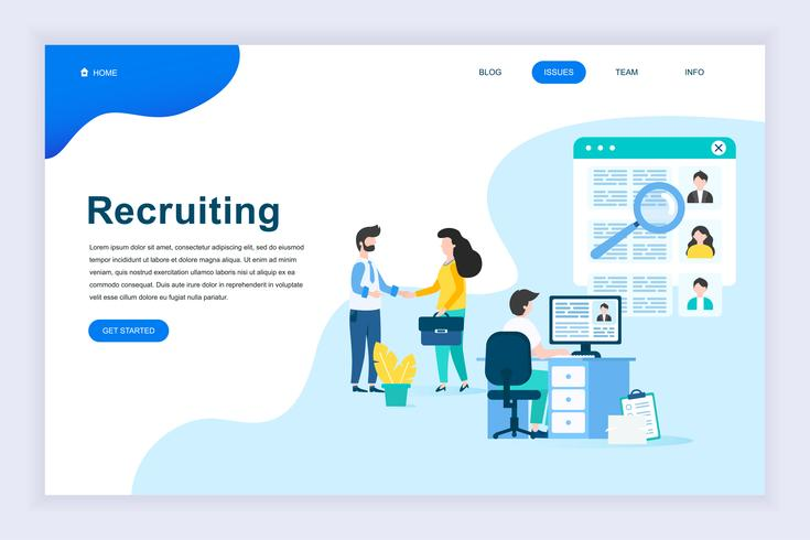 Concepto de diseño plano moderno de reclutamiento de negocios
