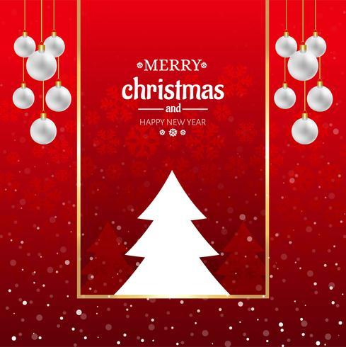 Schöner Ball der frohen Weihnachten mit Baumkartenhintergrund