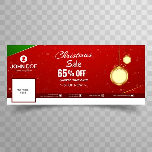 Merry christmas sale with facebook cover template design