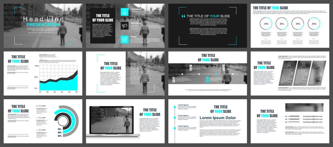 Geschäftspräsentation schiebt Vorlagen von infographic Elementen