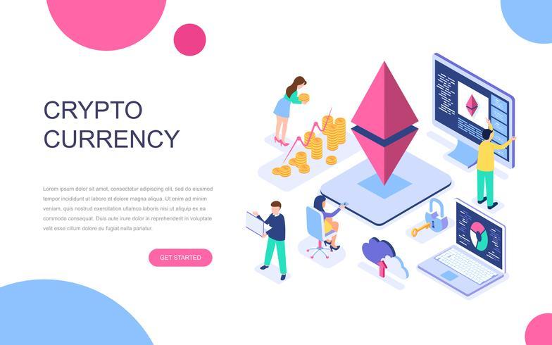 Isometrisches Konzept des modernen flachen Designs des Cryptocurrency Exchange