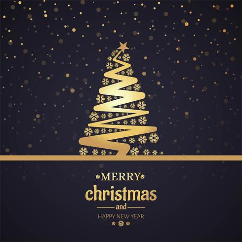 Schöne Karte der frohen Weihnachten mit Baumhintergrund