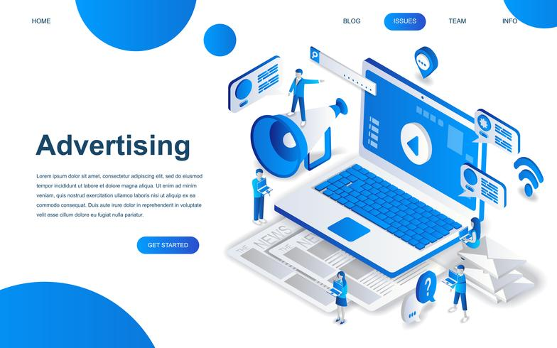 Modern isometric design concept of Advertising and Promotion