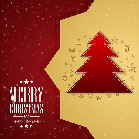 Baum-Festivalhintergrundvektor der frohen Weihnachten