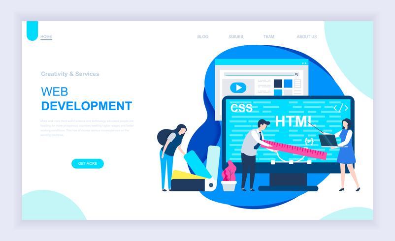 Concepto de diseño plano moderno de desarrollo web.