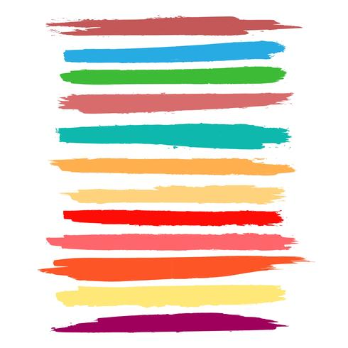 Abstrakt färgrik akvarell hand rita stroke set