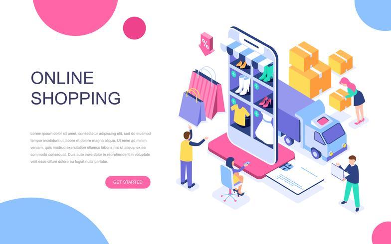 Concept isométrique de design plat moderne de shopping en ligne