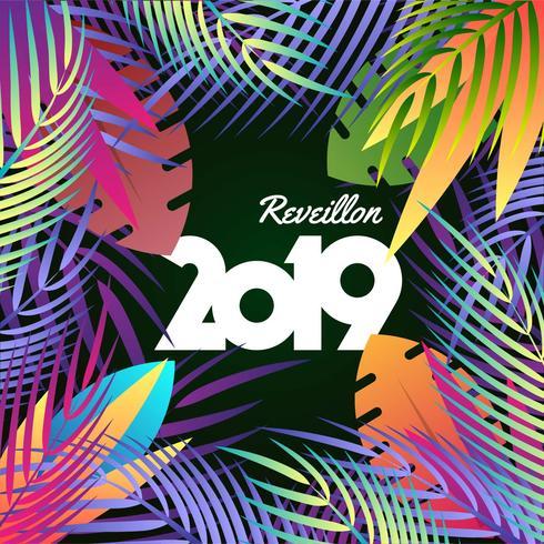 2019 Gelukkig Nieuwjaar tropische vakantie Concept achtergrond