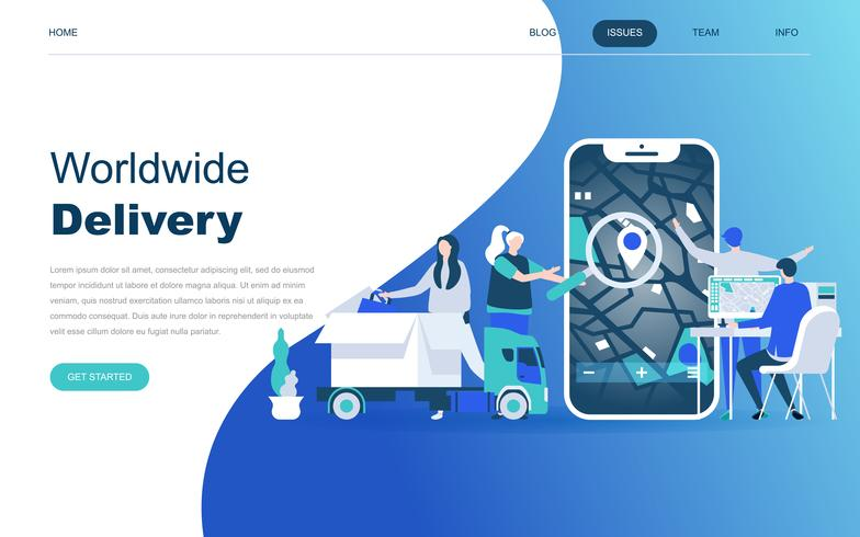 Modernt plattdesign koncept för Worldwide Delivery