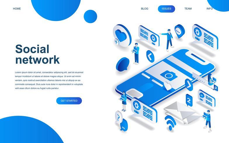 Conceito moderno design isométrico de rede social