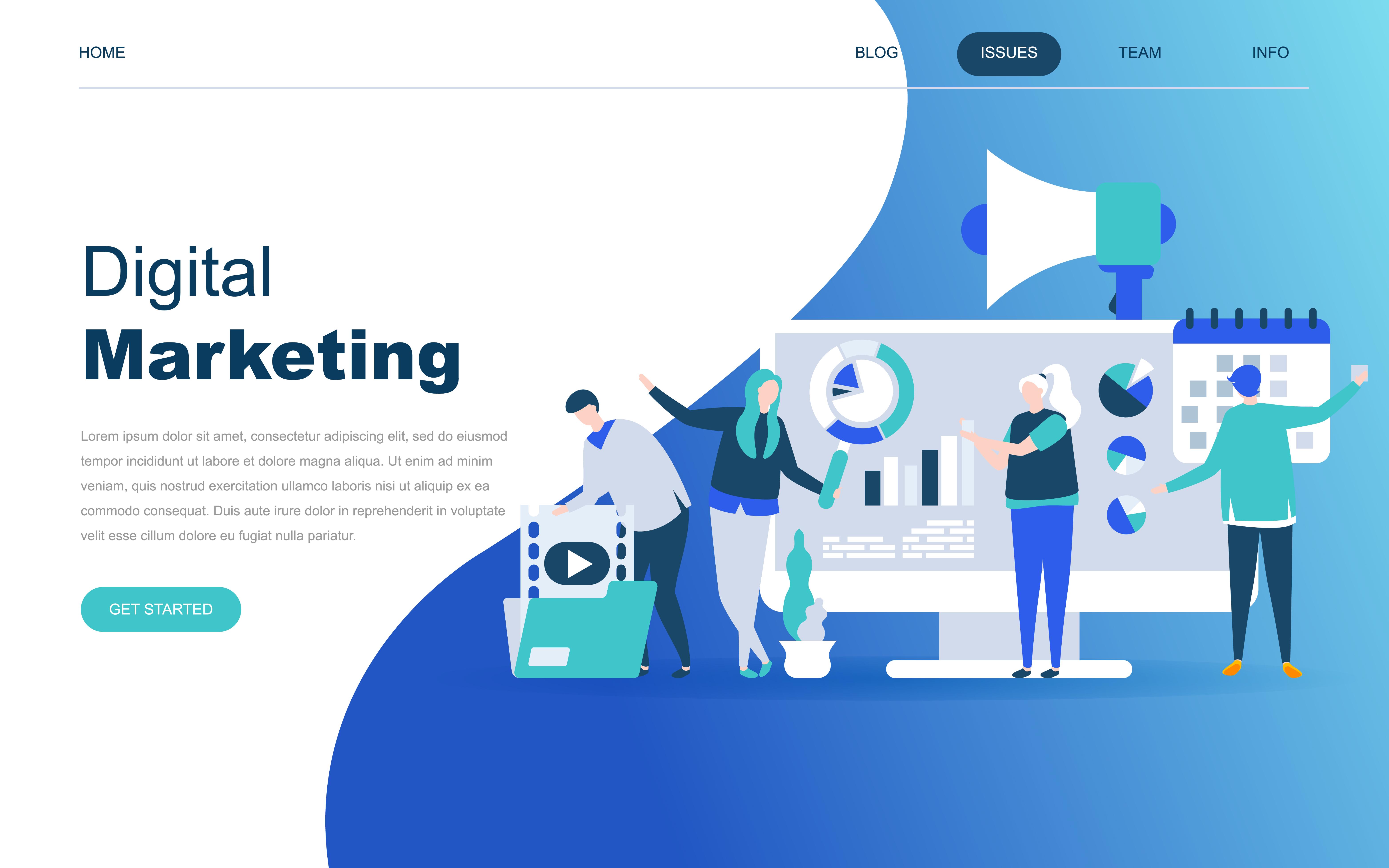 Vector Illustration Web Designs: Modern Flat Design Concept Of Digital Marketing