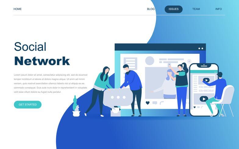 Concepto de diseño plano moderno de la red social.